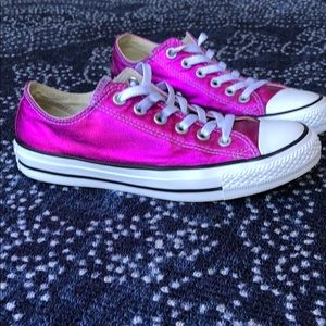 Converse All Star Metallic Pink Low Top Size W 7.5